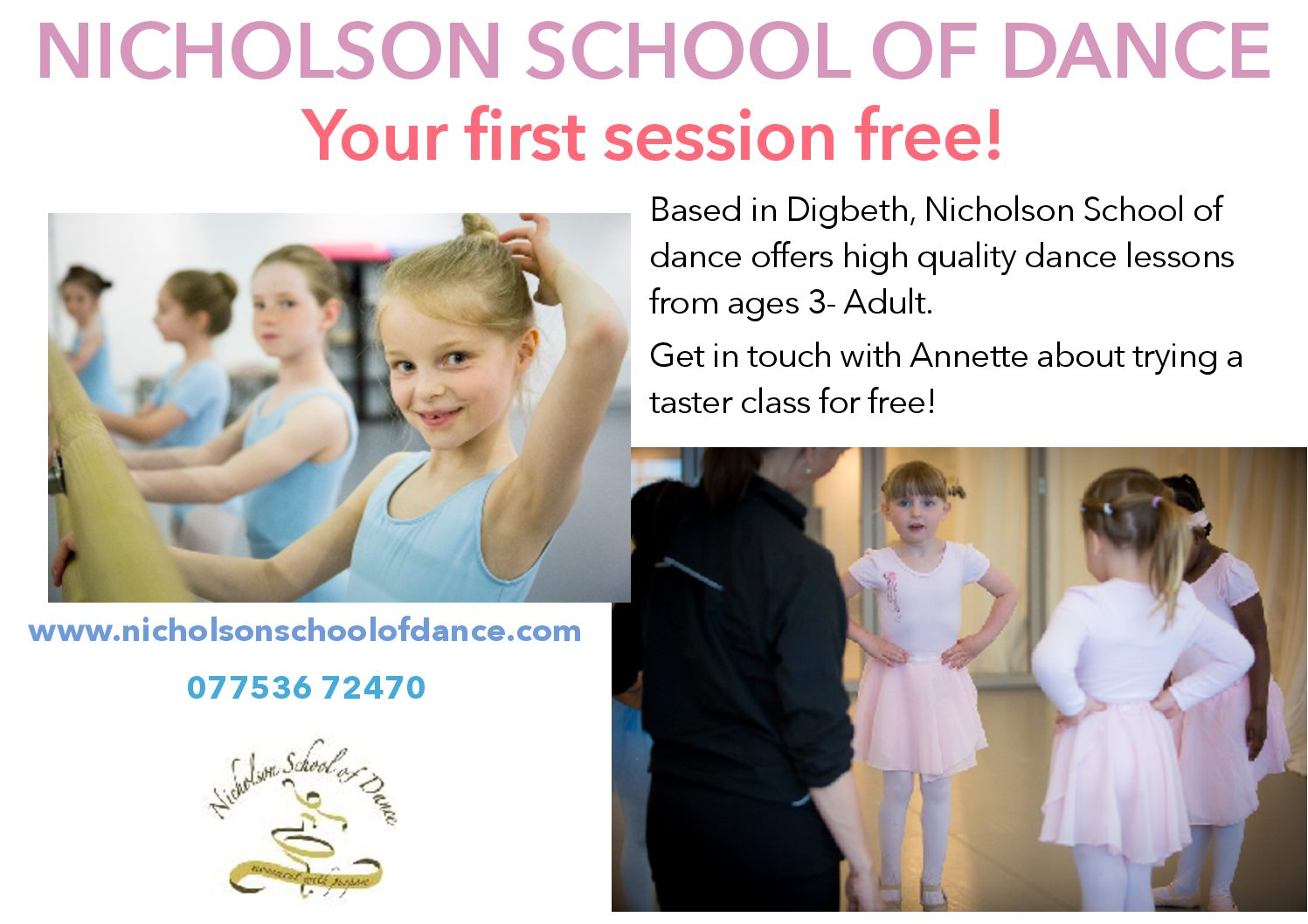 Nicholson School of Dance – (Ballet) Tues, 5.15pm